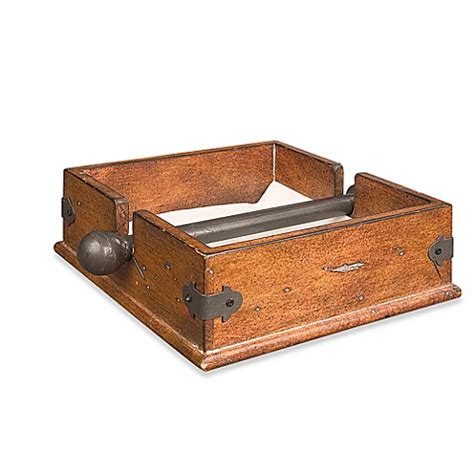 bathroom napkin tray wooden napkin holder with metal bar bed bath beyond