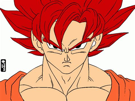 Imagenes De Goku Rojo | goku dios rojo para colorear goku dios rojo para imprimir