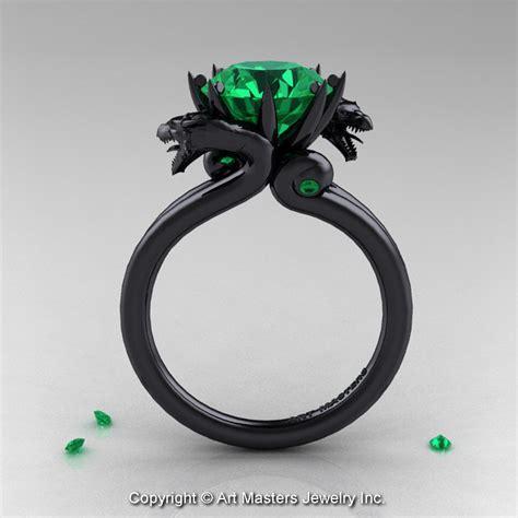 masters 14k black gold 3 0 ct chatham emerald