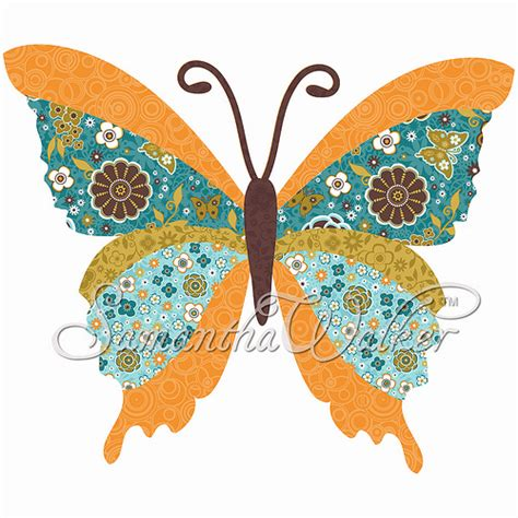 Patchwork Butterfly - w patchwork butterfly print and cut flickr photo