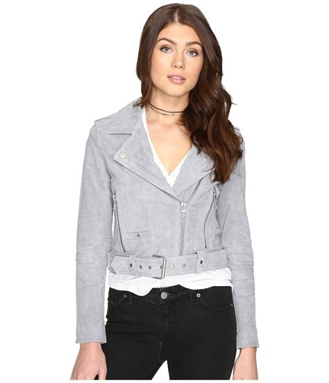 grey nyc blank nyc grey suede moto jacket in cloud grey at zappos