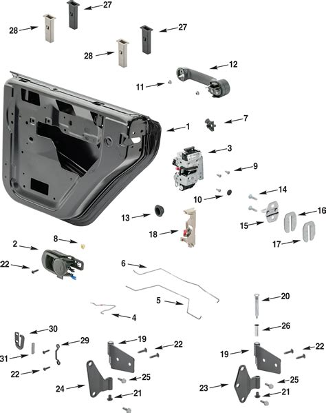 jeep door lock diagram the knownledge jeep wrangler jk rear half steel door parts quadratec