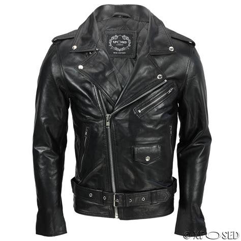 black biker style mens waxed soft real leather black biker jacket vintage