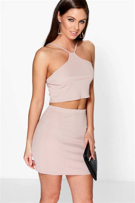 Minidress Top Belina ribbed cut away top mini skirt co ord set at boohoo
