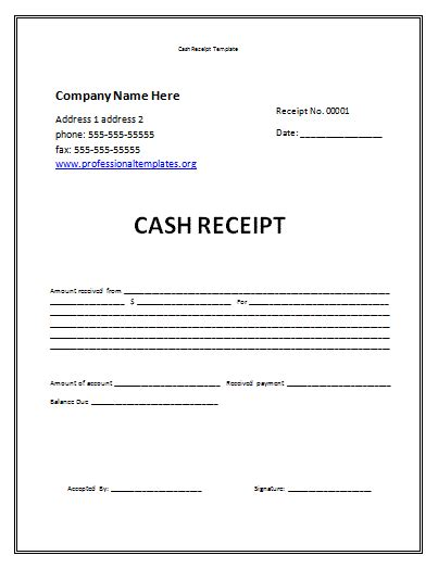 Receipt Template by Receipt Template Professional Word Templates