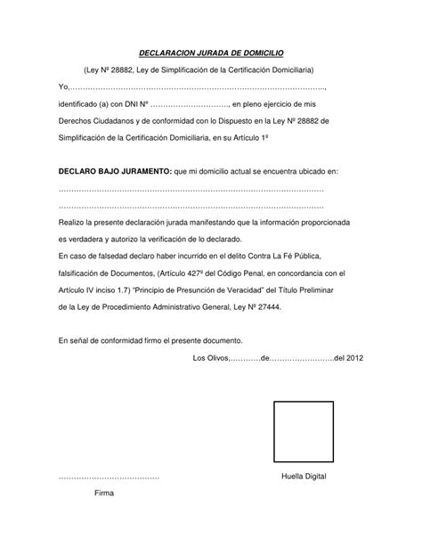 saren carta jurada para vivienda declaracion jurada de domicilio
