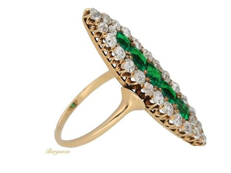 antique marquise shape emerald and ring circa