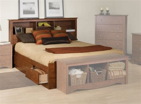 Bed With Storage And Headboard by Prepac Platform Storage Bed W Bookcase Headboard By Oj