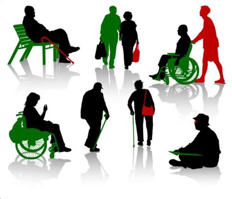 clipart persone with disabled persons silhouette vector 10