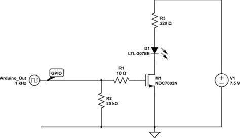 n channel mosfet gate resistor arduino microcontroller driven n channel mosfet voltage behavior electrical engineering