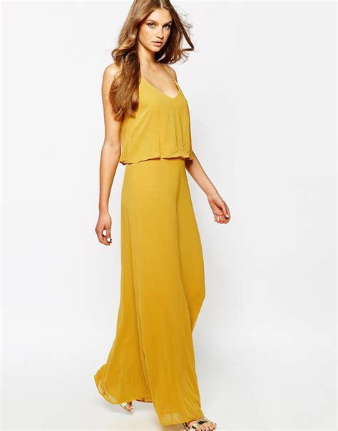 Manggo Dress lyst mango spaghetti back chiffon maxi dress in yellow