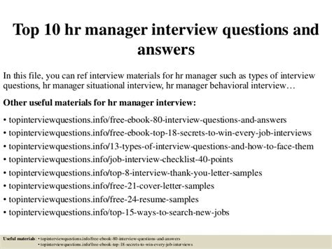 top 10 hr manager questions and answers