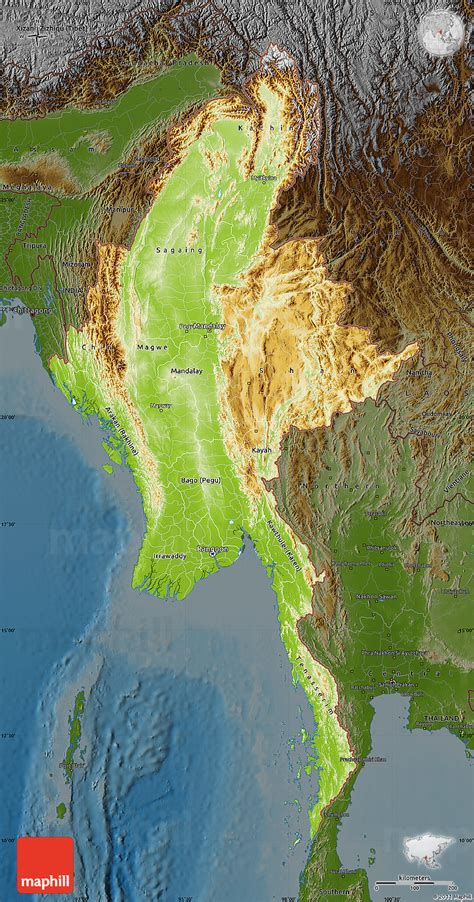 myanmar physical map physical map of burma darken