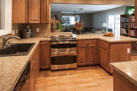 birch kitchen cabinets laminate flooring stainless steel