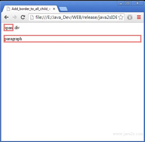 div border css add border to all child element in a div element in jquery