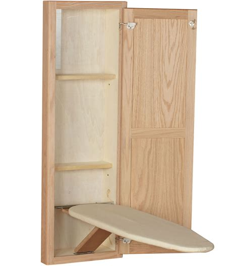 In Wall Ironing Board And Cabinet Unfinished Oak In