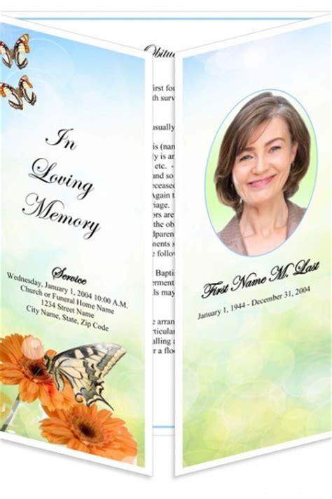 Butterfly Memorial Program Funeral Phlets funeral program templates gatefold beautiful butterfly