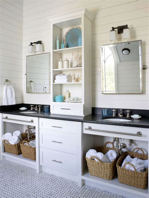 double vanity with center tower cottage bathroom bhg