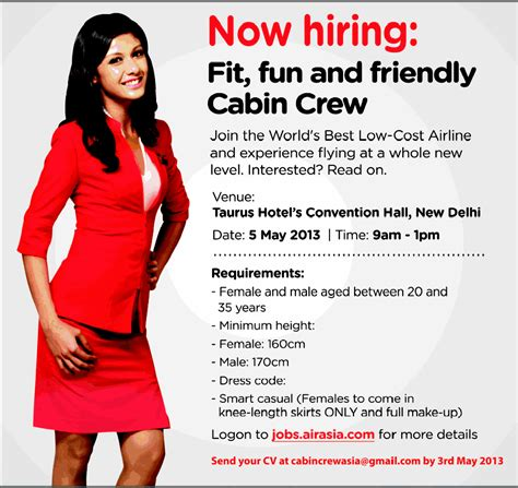 cabin crew opportunities cabin crew vacancies in air asia gulf for malayalees