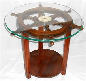 Ideas For Nautical Coffee Table Design Robin S Dockside Shop Ship S Wheel End Table