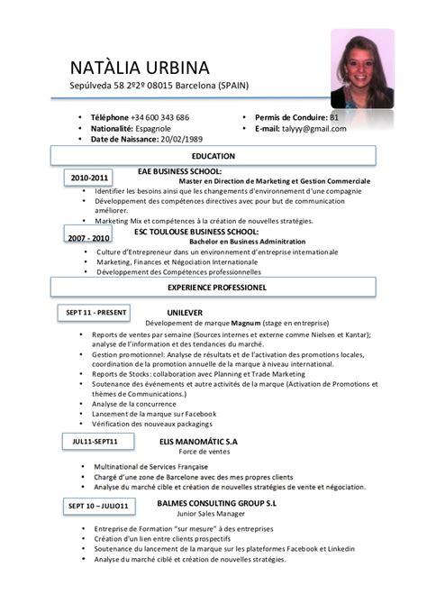 I Resume En Francais by Cv Fran 231 Ais