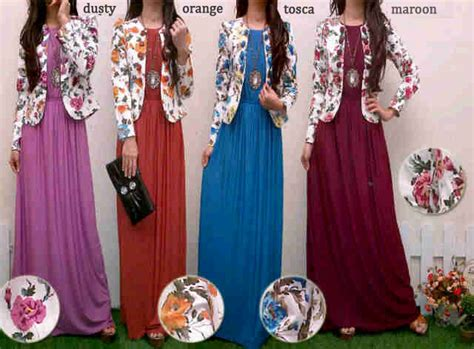 Pakaian Gaun Rok Dress Maxi Queena Outer Terbaru Cantik baju gamis kombinasi blazer bunga koleksi dress remaja