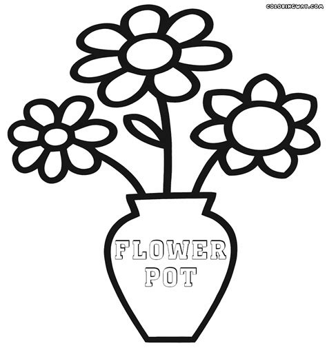 coloring page of a flower pot drawn pot plant coloring page pencil and in color drawn