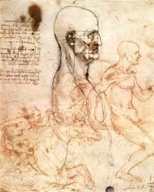 profile of a man and study of two riders by leonardo da vinci