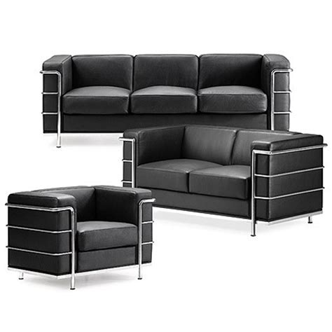 corbusier loveseat grand comfort sofa inspired by le corbusier in black