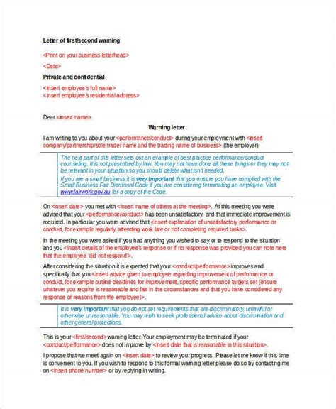 warning letter templates word format