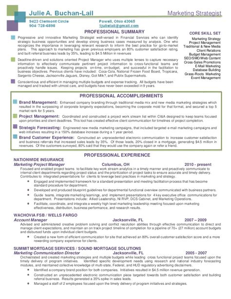 Marketing Strategist Sle Resume by Buchan Lail Marketing Strategist Resume Package
