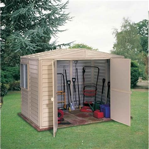 Duramax Plastic Shed by Shedswarehouse Madrid 8ft X 6ft Duramax Plastic Pvc Shed With Steel Frame 2 39m X 1 60m