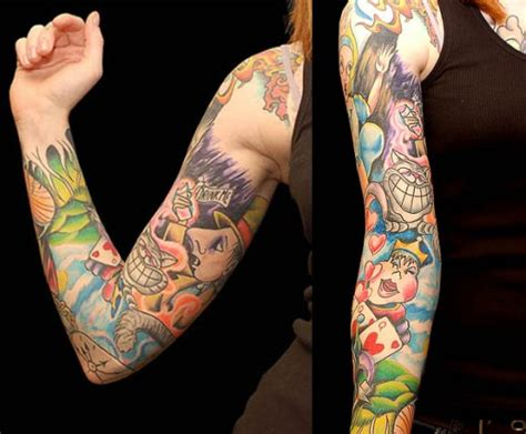 cartoon tattoo sleeve 40 best designs for sheplanet