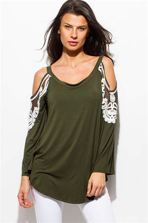 Crop Top Import 42429 Green Texture Lace Top shop wholesale womens olive green cold shoulder cut out