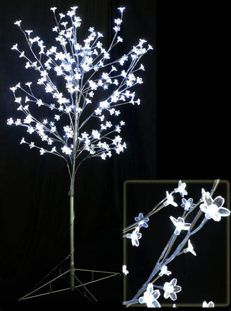 Lighted Trees by White Led Cherry Tree With 208 Acrylic Flowers 9
