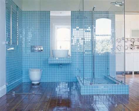 light blue tile bathroom of apartment