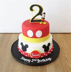 2 Tier Mickey Mouse Birthday Cake mickey mouse birthday cake on birthday cakes in leamington spa