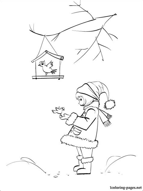 winter birds coloring page coloring pages