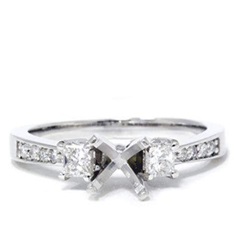 princess cut engagement semi mount ring setting ebay