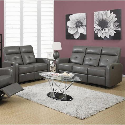 Gray Leather Sofa Set 2 Button Tuft Reclining Glider Leather Sofa Set In Gray I 85gy 3 2 Pkg