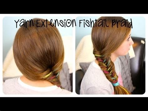 hairstyles with extensions youtube yarn extension fishtail braid color highlights cute