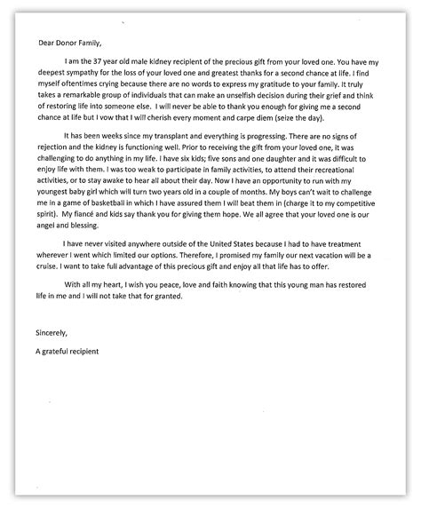 Kidney Donation Letter of who died after a single punch receives an