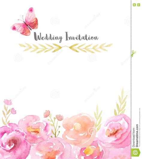 flower design wedding invitation watercolor pink and purple background with raised patterns
