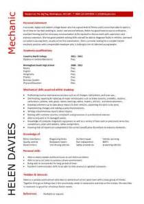 mechanic resume template graduate cv template student graduate career