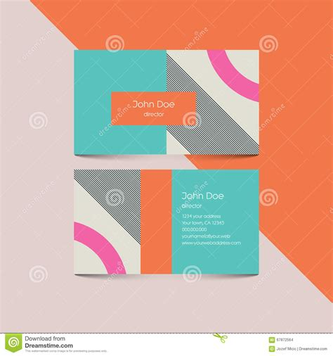 Retro 80 S Card Templates by Material Design Business Card Template With 80s Style