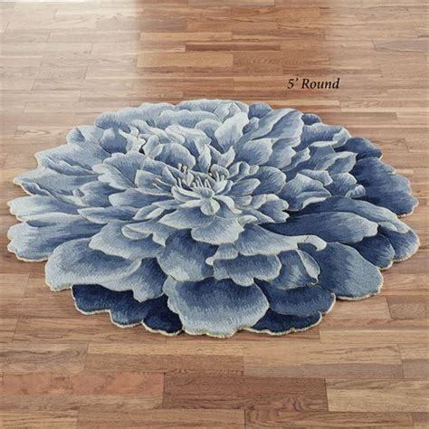 Geena Blue Flower Shaped Round Wool Rugs Flower Shaped Area Rugs