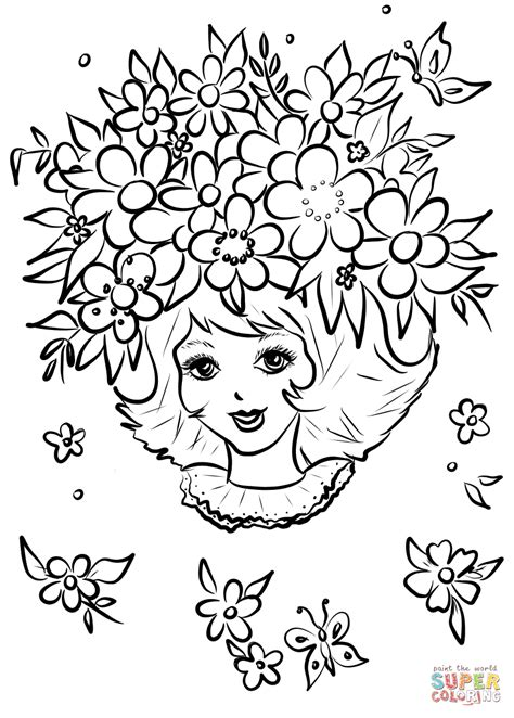 coloring pages flower girl girl with flower crown coloring page free printable
