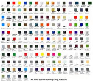 mr color mr color solvent based paint color chart mech9