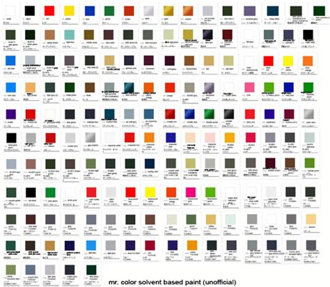 mr color solvent based paint color chart mech9 anime and mecha review site shop