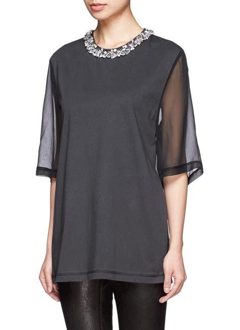 Phillip Lim Black Ghw 1 lyst 3 1 phillip lim neckline sheer sleeve top in black